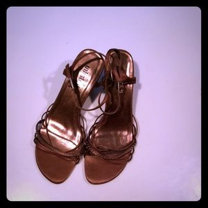 """Strappy Brown Satin Shoes, sz 9.5, 3"""" Heel"""
